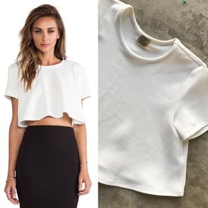 Ronny Kobo White Ruffle Textured (Lena) Crop Top